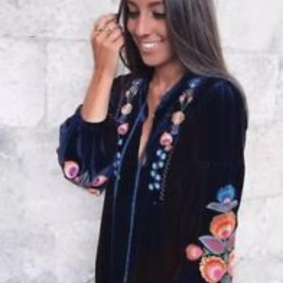 844d2d33 Zara Dresses | Nwt Blue Embroidered Velvet Dress Tunic Large | Poshmark